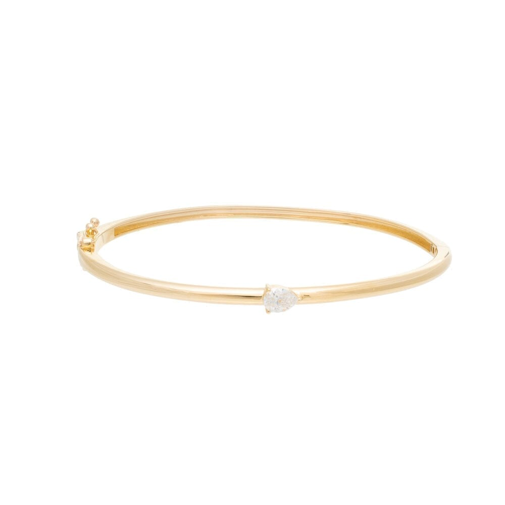 Diamond Solitaire Pear Skinny Bangle Yellow Gold