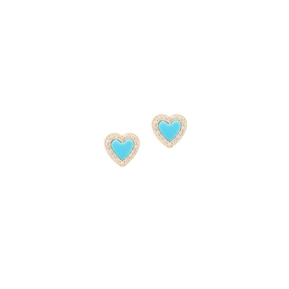 Mini Pave Diamonds + Turquoise Yellow Gold