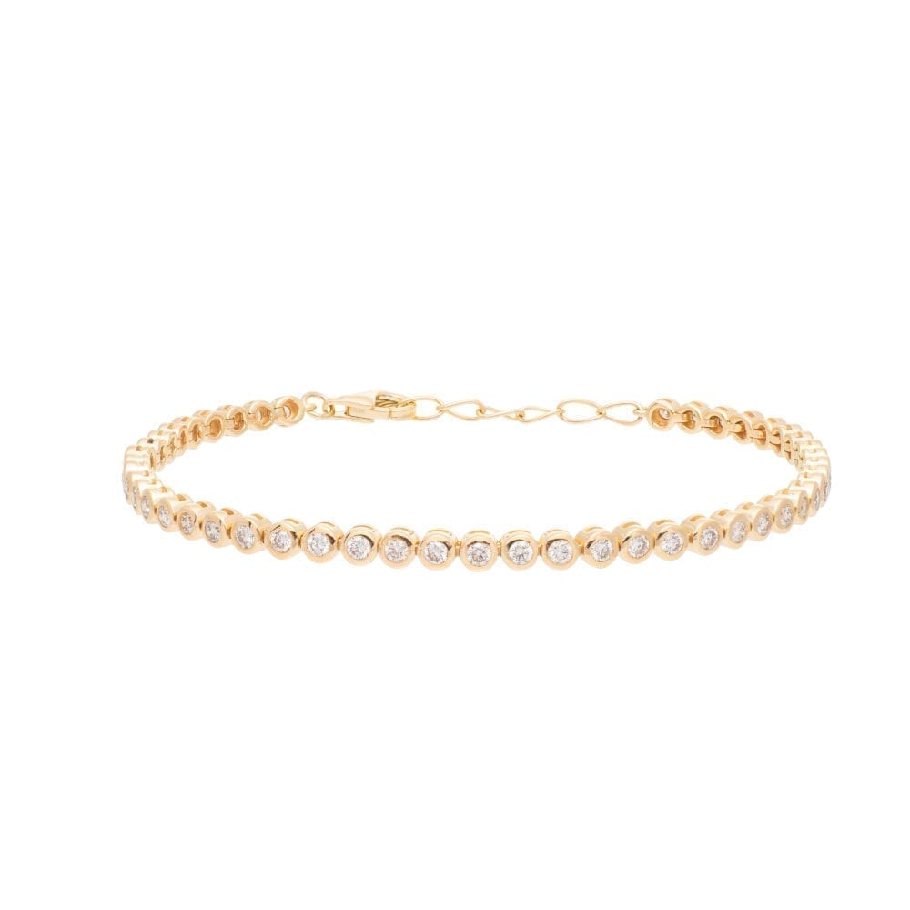 Round Diamond Infinity Tennis Bracelet Yellow Gold