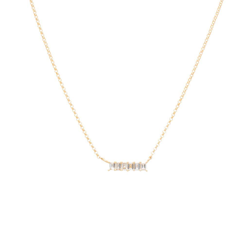 Diamond Baguette Bar Necklace Yellow Gold