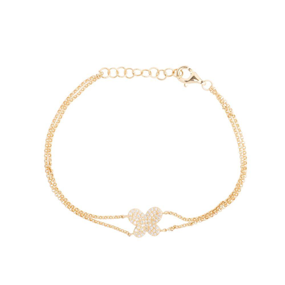 Diamond Butterfly Double Chain Bracelet Yellow Gold