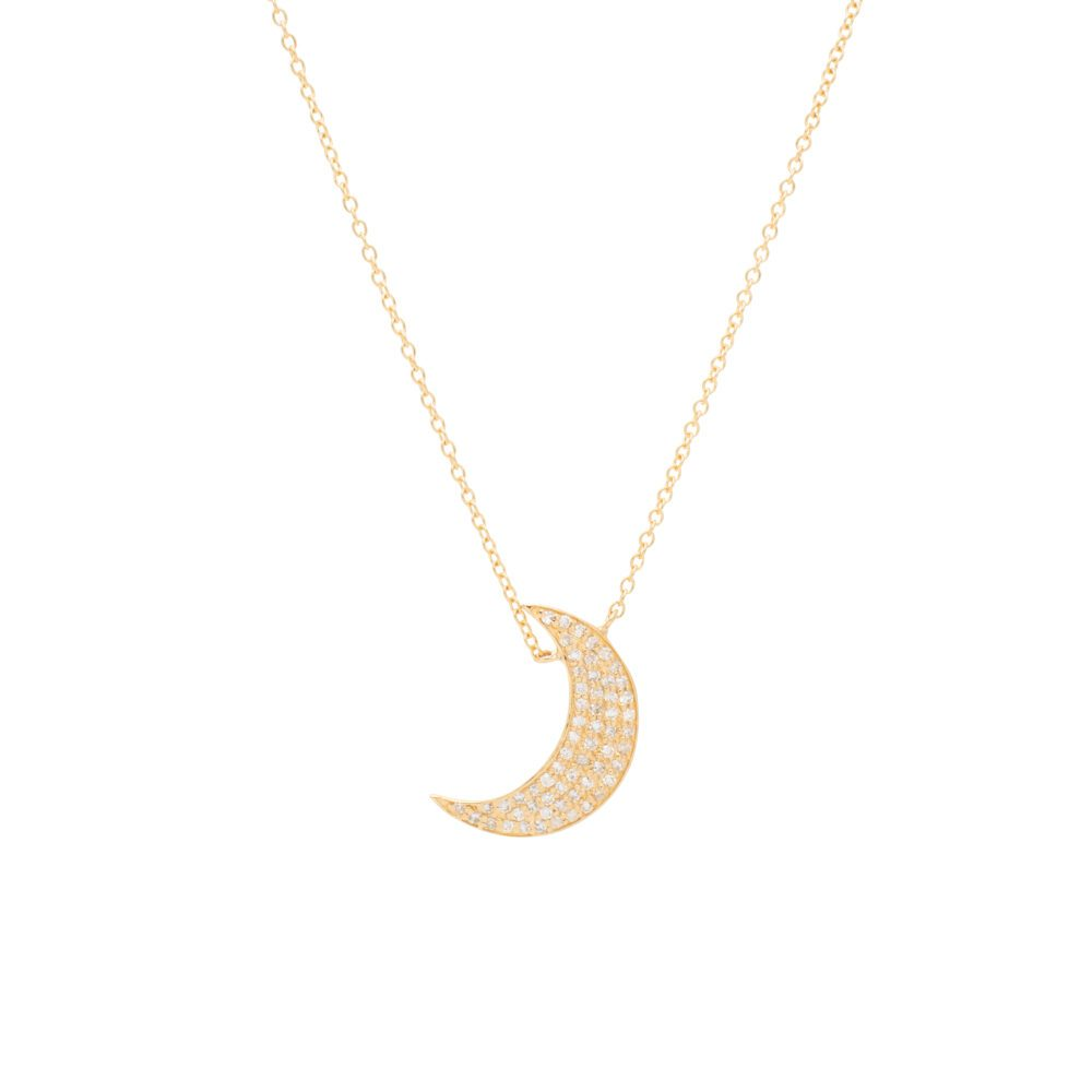 Diamond Crescent Moon Necklace Yellow Gold