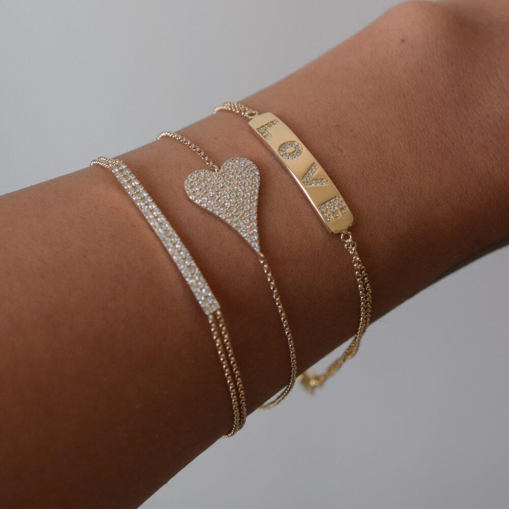 Diamond LOVE ID Double Chain Bracelet