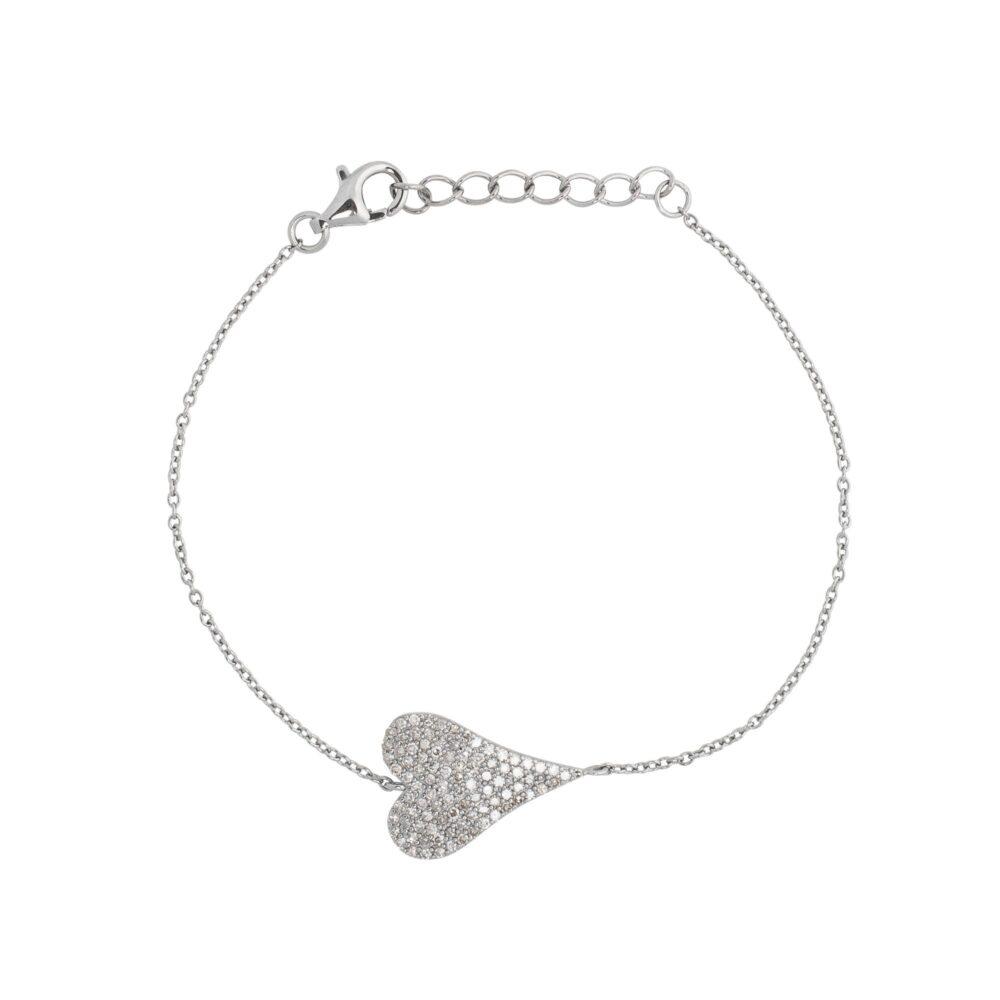 Diamond Modern Heart Chain Bracelet Sterling Silver