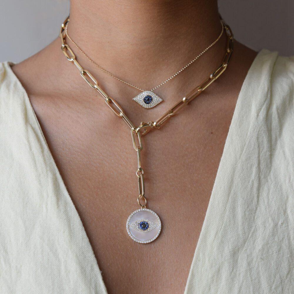 Diamond + Onyx White Mother-of-Pearl Evil Eye Disc Charm
