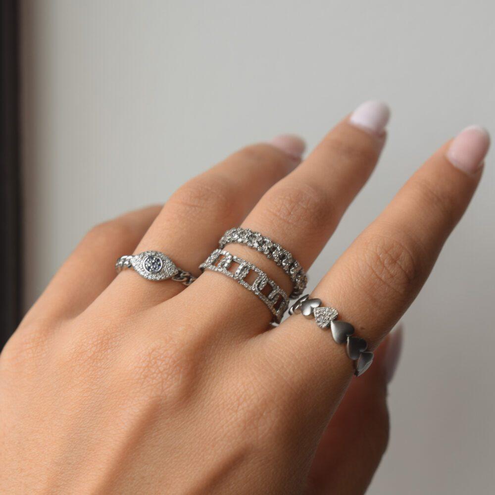 Diamond Puffed Heart Ring