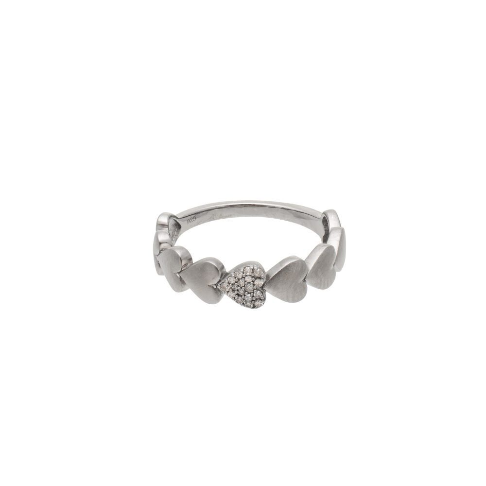 Diamond Puffed Heart Ring Sterling Silver