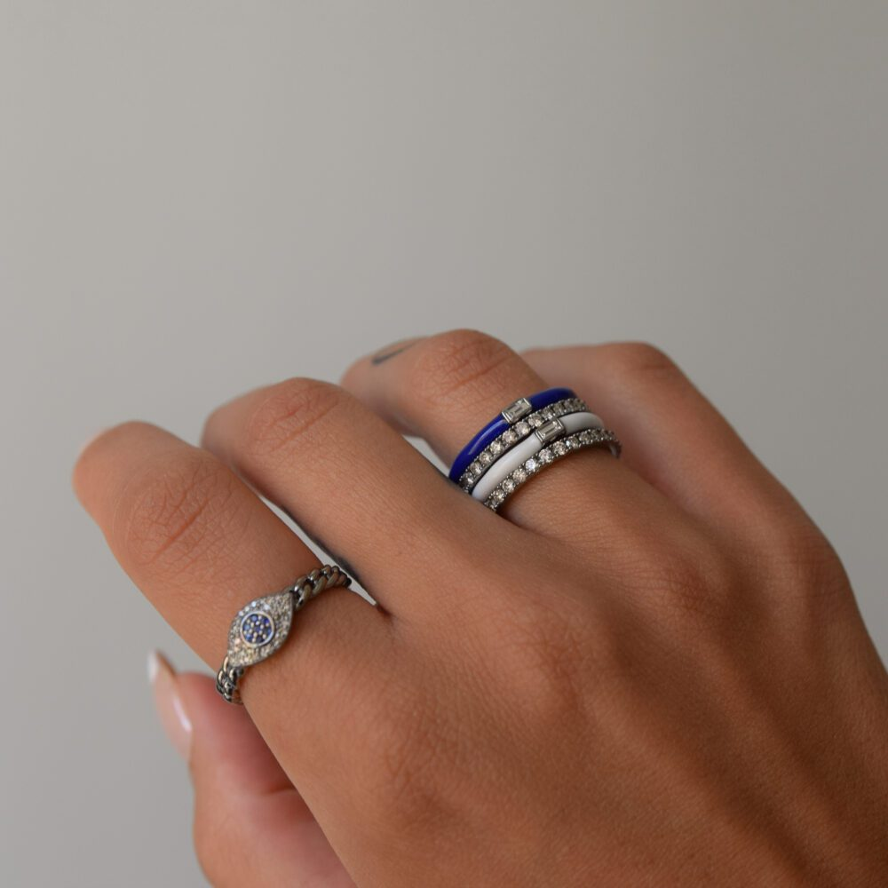Diamond Sapphire Evil Eye Curb Chain Hard Link Ring