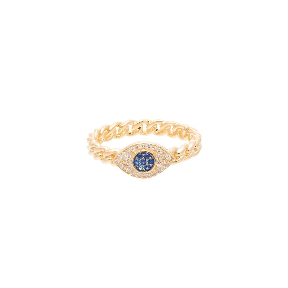 Diamond Sapphire Evil Eye Curb Chain Hard Link Ring Yellow Gold