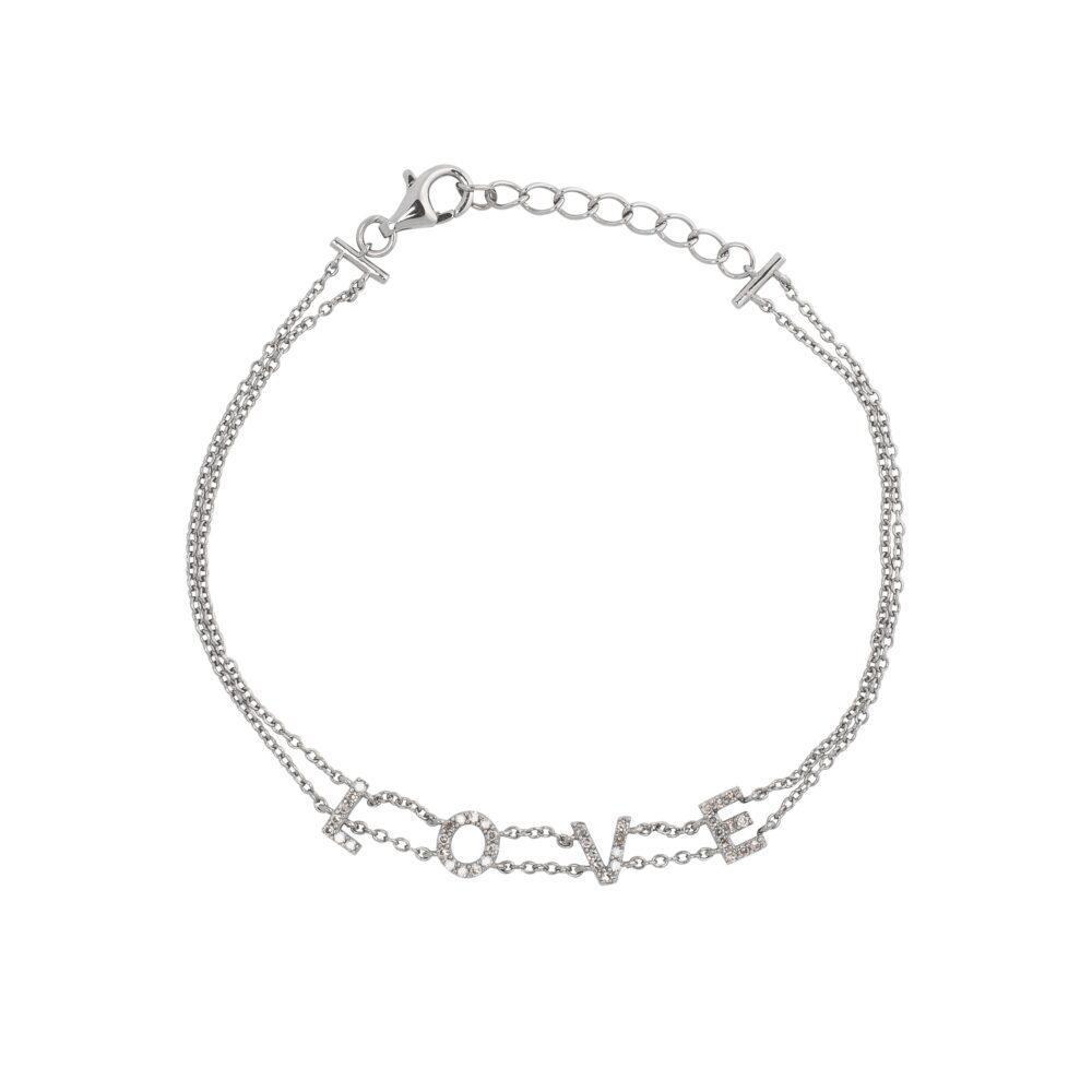 LOVE Double Chain Bracelet Silver