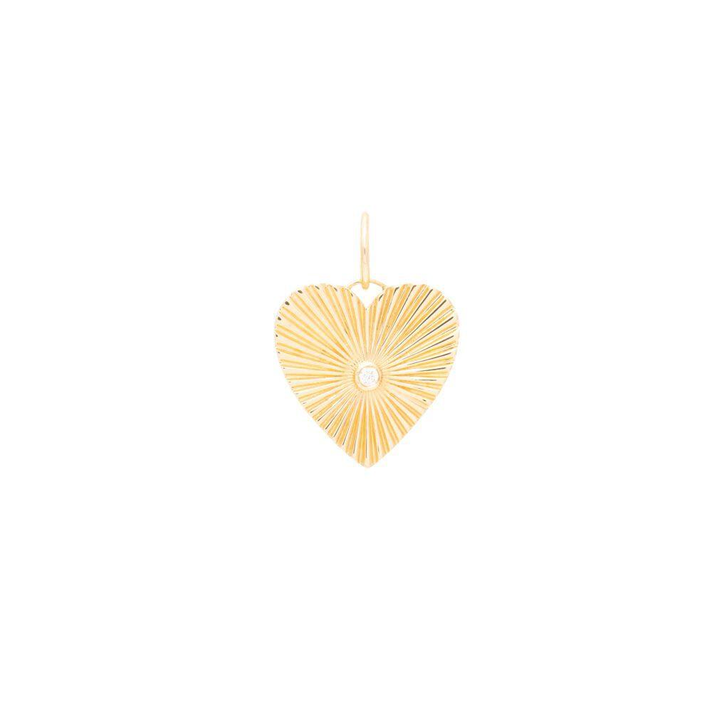 Diamond Cut Heart Charm Yellow Gold