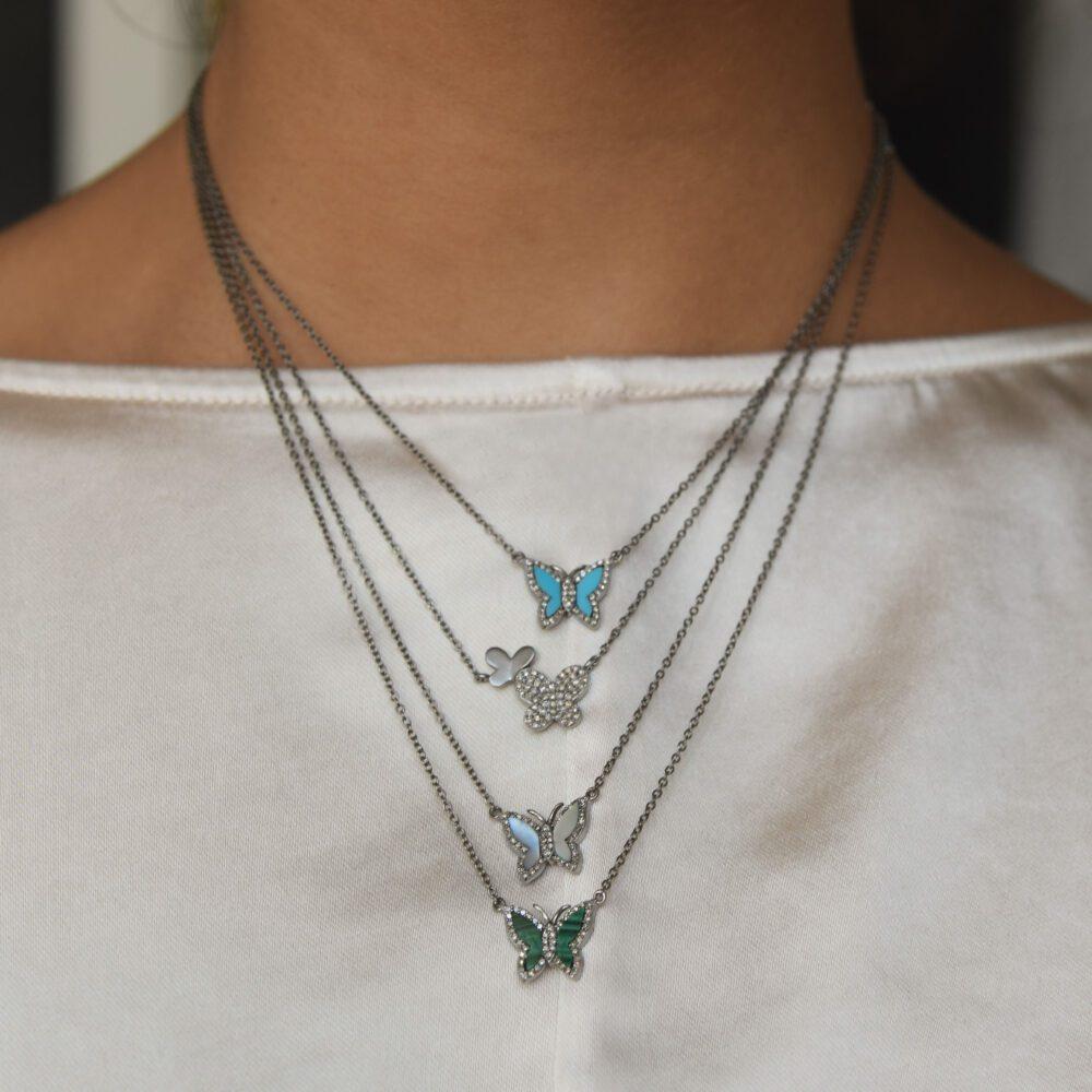 Diamond Matte Butterfly Necklace