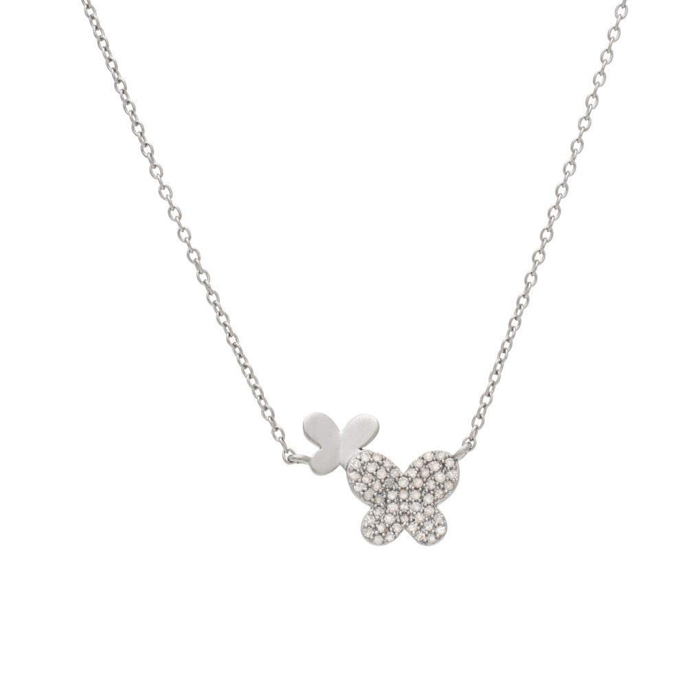 Diamond + Matte Butterfly Necklace Silver