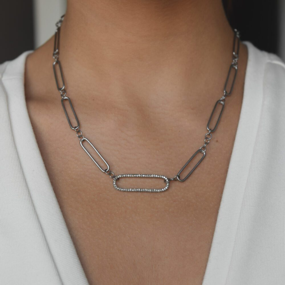Diamond Oval Link Matte Silver Chain Necklace