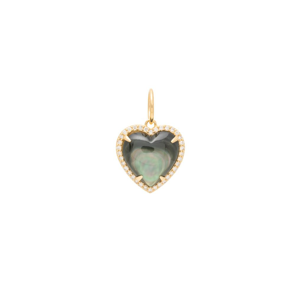 Diamond Small Puffed Gray Mother-of-Pearl Heart Charm Yellow Gold