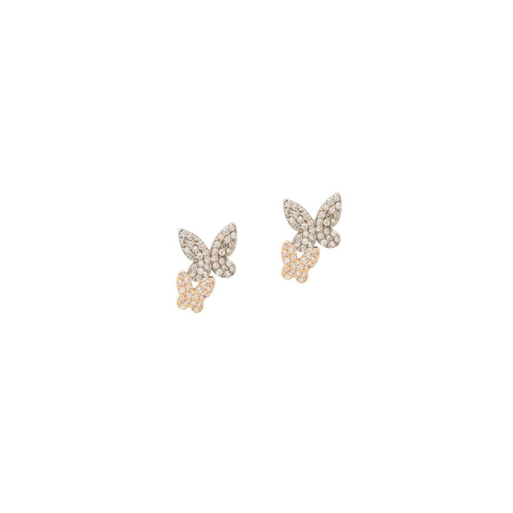 Double Diamond Butterfly Studs Silver and Gold
