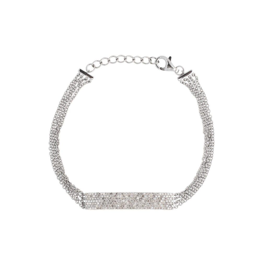 Diamond 4 Chain ID Bracelet Sterling Silver