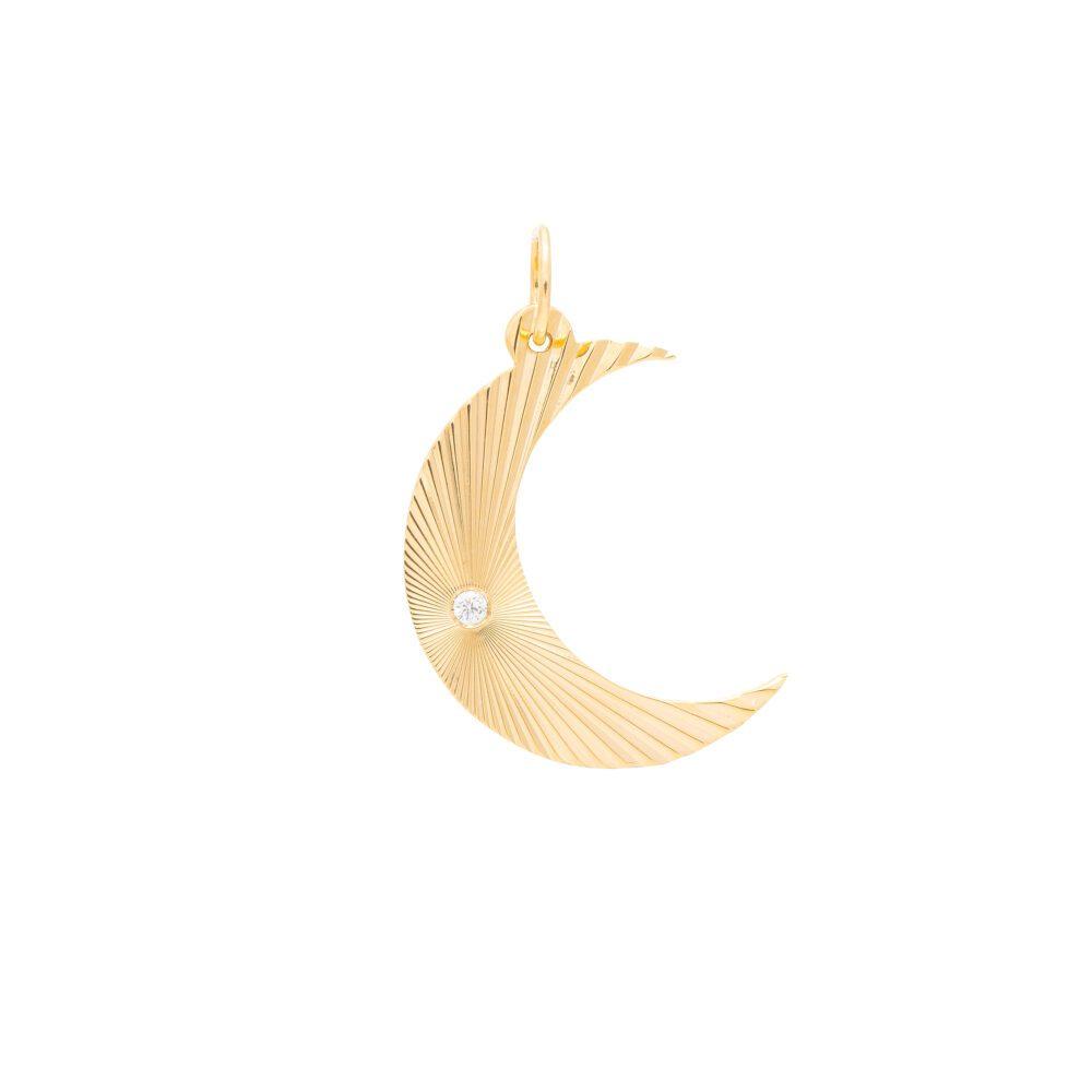 Diamond Cut Moon Pendant Yellow Gold