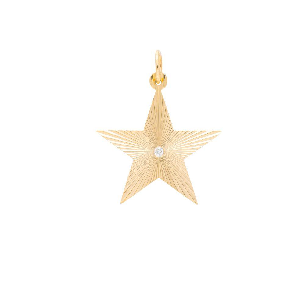 Diamond Cut Star Pendant Yellow Gold