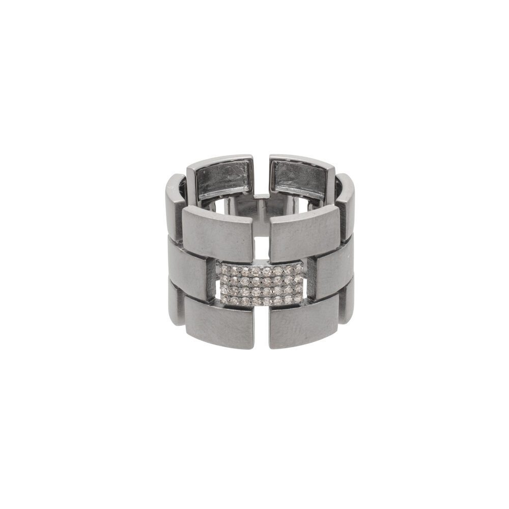 Diamond Link Wide Band Sterling Silver