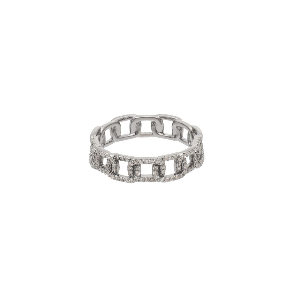 Diamond Square Link Ring Sterling Silver