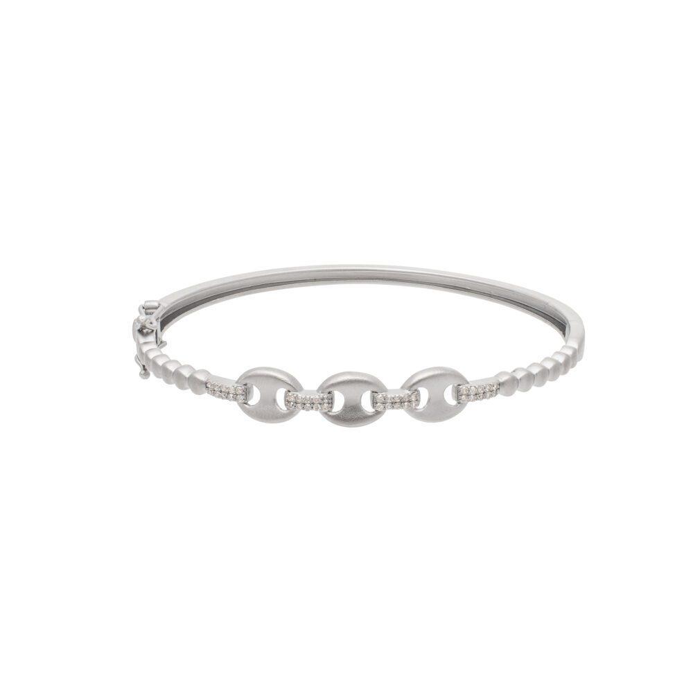 Diamond Tri-Link Bangle Sterling Silver